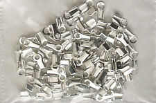100 SILVER PLATED FLAT CRIMPS findings 5mm WITH EYE = CP0064