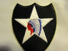 "WWII WW2 US ARMY 2ND INFANTRY DIVISION ""INDIAN HEAD"" SHOULDER PATCH - CUT EDGE"
