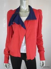 NWT $228 MARC BY MARC JACOBS M Red Blue Cotton Modal Zip Moto Coat Jacket NEW