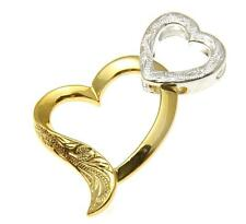 STERLING SILVER 925 HAWAIIAN SCROLL HEART YELLOW GOLD PLATED HEART PENDANT 19MM
