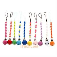Colorful Baby Toddler Dummy Pacifier Soother Nipple Shield Wood Chain Clip Holde