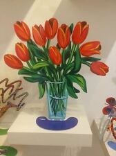 "David Gerstein Metal Modern Art Sculpture ""Tulips Flowers in glass Vase"" New"