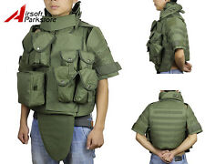 Tactical Molle Plate Carrier Vest w/Mag Pouch Military Airsoft Paintball Olive D