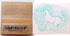 1982 GRAPHISTAMP Wood Rubber Stamps Beautiful Prancing UNICORN Surrounded byDots