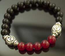 Antidepressant SCENT THERAPY Beaded Bracelet PATCHOULI Yin Yang Onyx & Red Jade