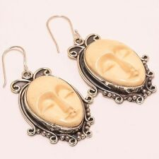 """HANDMADE WORK SLEPPING GODDESS FACE CAMEO .925 SILVER JEWELRY EARRING 1.3"""""""