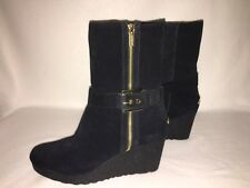 *NEW* Michael Kors LIZZIE Black Suede Shearling Wedge Bootie - 11 - GORGEOUS!