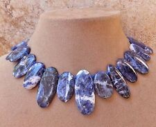BLUE GENUINE SODALITE DENIM GEMSTONE NECKLACE BEAD BIG JEWELRY Made in the USA !