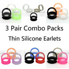 3 Pairs Thin Silicone Ear Tunnel Plug Stretcher Earlets Earskin Piercing Jewelry