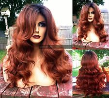 """USA / Human HAIR BLEND 4x4"""" Swiss LACE FRONT Wavy Auburn Brown Red Dark Root Wig"""