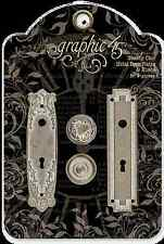 Graphic45 Staples-SHABBY CHIC (2) METAL DOOR PLATES & (2) KNOBS scrapbooking
