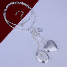 "925Sterling Silver Jewelry 2 Photo Frame Heart Lock Key Woman Necklace 18"" NY007"