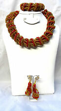New Design Drum Style Red Gold Unique Party African Nigerian Beads Jewelry Set