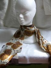 Soft Long Scarf in brown & gold roses and butterflys