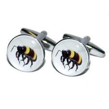 Black & Yellow Bumble Bee Cufflinks With Gift Pouch Wasp Summer Sting New