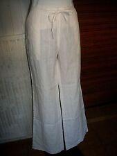 Pantalon 100% lin blanc rayé ton sur ton 1.2.3. W34 44 bas large 16ET7