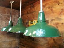 3~Vintage Industrial BENJAMIN Porcelain Green Enamel Gas Station Barn Light 16""