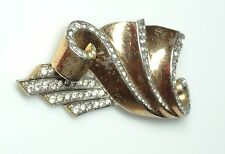 "Vintage Marcel Boucher Rhinestone FUR CLIP- ""Ribbons"" Edged w/Rhinestones-ESTATE"
