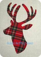 1 x 8in Scottish Stag Head, Red Tartan Cotton fabric,Iron/Sew Cut Out,Appliqué 2