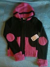NWT Energie Cocoa Bean Pink Hooded Cardigan Acrylic Sweater Medium 10/12 Juniors