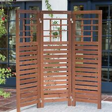 Brown Slat Patio Room Divider Screen 3 Panel Home Living Outdoor Furniture Deck
