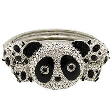 Butler and Wilson Crystal Seven Panda Snap Bangle Bracelet NEW