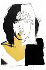 Mick Jagger III A2 by Andy Warhol High Quality Canvas Art Print