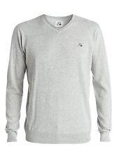 Quiksilver Kelvin V Gray LS V-Neck Pullover Sweater Sz Medium