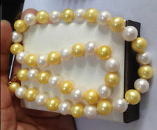 """18"""" HUGE NATURAL SOUTH SEA 11-12MM WHITE GOLDEN PEARL NECKLACE 14K GOLD CLASP"""