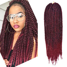 24 inch Havana Mambo Twist Crochet Braid Hair Extensions Dark Burgundy/Burgundy
