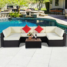 7PC Outdoor Patio Furniture Wicker Rattan Sofa Set Poly Wood Table Brown