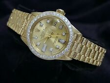 Ladies Rolex SOLID 18K Yellow Gold Datejust President Diamond Dial, Bezel & Band