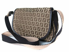 Authentic FENDI Zucca Canvas Leather Browns Cross-Body Shoulder Bag FS0105
