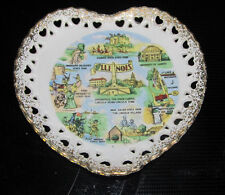 State Of Illinois Abraham Lincoln Heart Shaped Collector Plate NOV G Japan