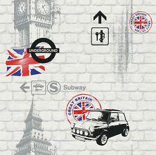 New Rasch London Mini Big Ben Union Jack White Brick Feature Wallpaper 234800