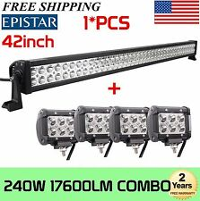 "42""INCH 240W COMBO LED LIGHT BAR SUV + 4X 18W PODS OFFROAD DRIVING LAMP CAR"