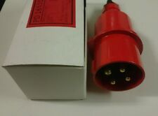 Lewden metal IP44 splashproof 400V three phase 16A cable lead plug red BS4343