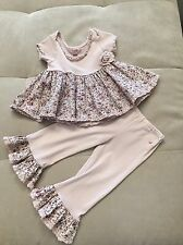 Baby Girl Elysees Boutique Lavender With Flowers Ruffles Top Pants Sz 12 Month