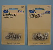 "Dritz 7 Snap Fasteners 16-9 size 16 7/16"" Light to Medium Weight Fabric  2 packs"