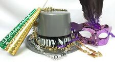 New Year's Eve Silver Top Hat and Mask with Horns with Necklaces Party Supplies