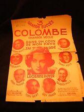 Partition Colombe Dans un coin de mon pays Lucienne Boyer Music Sheet