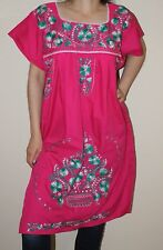 Medium Peasant Tunic Boho Hippie Hand Embroidered Mexican Above Knee Dress