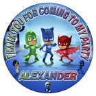 Personalised PJ Masks Stickers Birthday Party Thank You Cones Bags Labels Seals