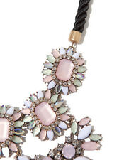 COLLIER PLASTRON ROSE MARQUISE NECKLACE OPAL PASTEL PINK CRYSTAL RHINESTONE