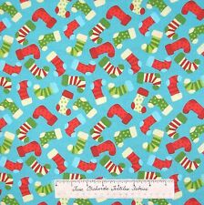 Christmas Fabric - Happy Holidays Red Green Blue Stocking Toss - AE Nathan YARD