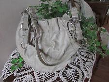 Vintage Fossil Gray Taupe natural grain Leather Bucket hobo Handbag-NWOT