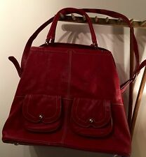 "PRELOVED 'TOMMY & KATE' RED LEATHER OVERNIGHT BAG 13"" X 17"" X 9"""