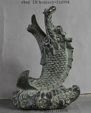 Old China Fengshui Bronze Decoration Wealth Money Coin Dragon Fish Lucky Statue