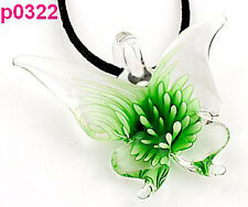 HandWork Fashion Chic Lifelike Green Butterfly art lampwork glass pendant JP322