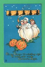 SCARCE 1916 TUCK HALLOWEEN POSTCARD GIRLS NIGHT CLOTHES CANDLE JOLS CATS STARS